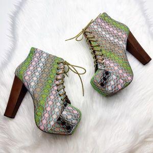 Jeffrey Campbell Crochet Multi Color Lita Boots